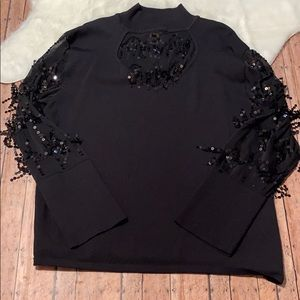 Midnight Velvet Black Sweater Blouse